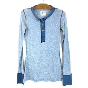 Free People Henley Thermal Embellished Baby Blue M